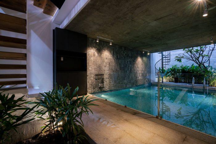 Nhà phố 100m2 có hồ bơi trong nhà